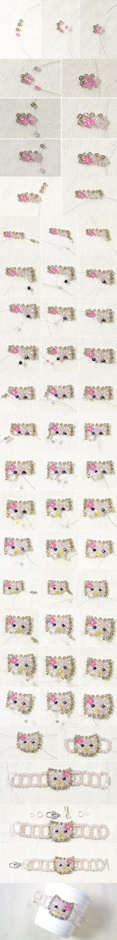 Tutorial on How to Make a Hello Kitty Charm Bead Bracelet for Kids from LC.Pandahall.com                        #pandahall
