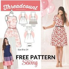 TONS OF FREE PATTERNS! FREE DOWNLOAD - Threadcount 3 in 1 Dress Pattern