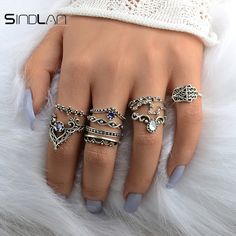 New Wedding 10pcs / Set Bohemian Hollow Pattern Water Droplet Crown Vintage Crystal Beidou Seven Star Fatima Hand Ring For Women //Price: $US $1.26 & FREE Shipping //     #hashtag4