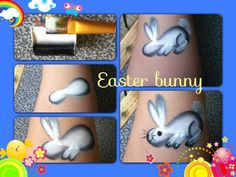 Quick one-stroke bunny - Easter face paint idea