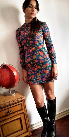 Flower Power 70's Mini Dress by IndianYepaVintage on Etsy
