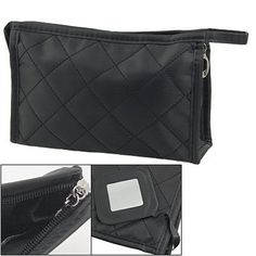 """Rosallini Black Grid Pattern Cosmetic Make Up Small Zippered Bag by Rosallini. $6.25. Unfolded: 18.5 x 5.5 x 12.5cm / 7.3"""" x 2.2"""" x 4.9"""" (L*W*H); Net Weight: 76g. Size: Small; Main Material: Nylon; Main Color: Black. Package Content: 1 x Cosmetic Bag. Product Name: Cosmetic Bag; Fit for: Women. Size: Folded: 18.5 x 12.5 x 1.5cm / 7.3"""" x 4.9"""" x 0.59"""" (L*W*T). Grid Pattern, Rectangle Shape, Zipper Closure, Inside Mirror, etc. Made of comfortable and durable material, makes ..."""