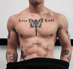 Torso Tattoos, Boy Tattoos, Body Art Tattoos, Time Tattoos, Tattoed Guys, Wrist Tattoos For Guys, Cool Chest Tattoos, Badass Tattoos, Side Neck Tattoo