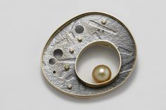 Thomas Turner Jewelry » 14k gold & sterling brooch with 10mm yellow south see pearl and .11cttw yellow and white diamonds