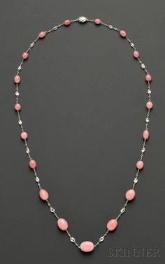 Conch pearl & diamond necklace