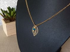 Gold Leaf Necklace Leaf Necklace Blue Bead by CotonLilyCreations