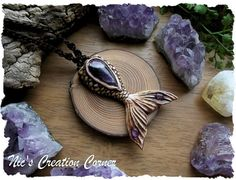 Mermaid Tail  Chevron Amethyst polymer clay Pendant/Necklace.