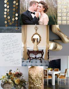 A Gold & Grey Gathering inspiration board via Polka Dot Bride (Use Dark Grey and Gold Leaf for C & P colors)