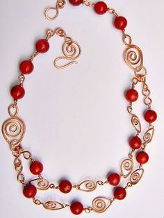Red Coral Leaf Necklace by Zoraida - Art Fire - kjs