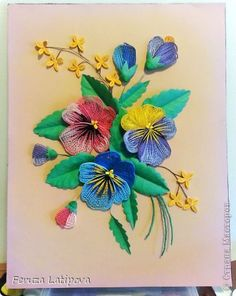 Painting mural drawing Quilling Pansies - Paper band photo 1