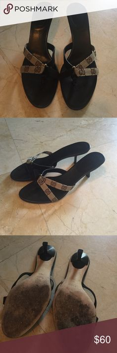 Gucci thong heeled sandals size 10 with box Size 10 Gucci thong sandal with brown suede Gucci Shoes Sandals