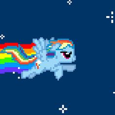 Size: 400x400 | Tagged: animated, cute, flying, nyan cat, nyan dash, pixel art, rainbow, rainbow dash, safe, solo, space