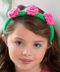 Flower Top Headband Free Crochet Pattern from Red Heart Yarns