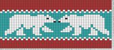 Tricksy Knitter Charts: Polar Bear by beachsidegirl Mug Rug Patterns, Fair Isle Knitting Patterns, Bead Loom Patterns, Knitting Charts, Knitting Stitches, Beading Patterns, Stitch Patterns, Fair Isle Chart, Chart Design