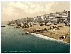 This Victorian Photochrom image shows The beach looking west, Worthing 1898. In 1890 the town received its Royal Charter and became the borough of Worthing. A very popular tourist resort for wealthy Victorians, the town expanded rapidly with many day trippers travelling from London. … Continued