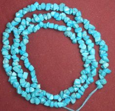 "Sleeping Beauty Turquoise Loose Chip Beads 18"" Strand Craft or Jewelry #114"