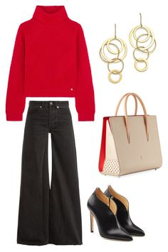"""Work comfort"" by nkotovic on Polyvore featuring Versace, Raey, Chloe Gosselin, Christian Louboutin and Bloomingdale's"