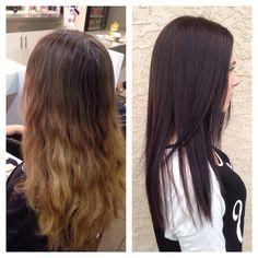 Light to dark colour change. Rich brunette colour.
