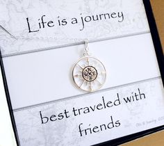 Silver Compass Necklace, Compass charm necklace, friendship necklace on message card, Sterling silver, best friend gift, bridesmaid gifts
