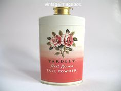 RED ROSES by YARDLEY Vintage Talc Powder tin, by VintageImageBox.