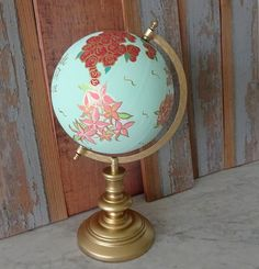 Hey, I found this really awesome Etsy listing at https://www.etsy.com/listing/224406839/hand-painted-floral-globe-with-custom