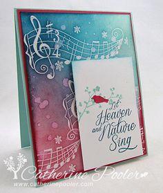 Catherine Pooler: Creativity Grows Here – UK StampNation Christmas Harmony Penny Black - 10/10/13.  (Penny Black: Christmas Harmony stamp).  Background: Clear Emboss Resist/ Sponging).: