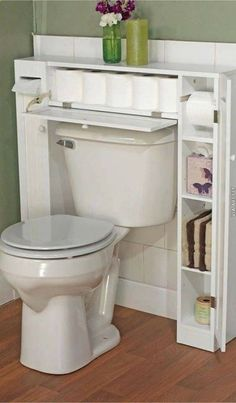 20 bathroom storage over toilet organization ideas. You have a small bathroom and you don't have idea how to design it? A small bathroom can look great and be fully functional as the large bathrooms. Over The Toilet Cabinet, Small Bathroom Storage, Small Bathrooms, Modern Bathrooms, Small Kitchens, Bedroom Storage, Small Rooms, Organization For Small Bathroom, Space Saving Bathroom