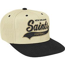 Men s Mitchell  amp  Ness New Orleans Saints Throwback Script Tailsweeper  Structured Adjustable Snapback Hat Nike d1a6280ec16
