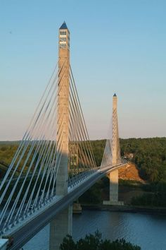Penobscot narrows bridge and Observatory- see those windows at the top of the first spire? That's the observatory! Bucksport, Maine- this is right next to Fort Knox
