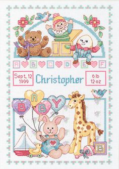 """Birth Record For Baby Counted Cross Stitch Kit-10""""""""X14"""""""" 14 Count"""