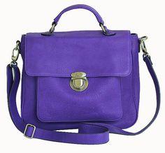 classic leather satchel - vignette in vibrant violet purple
