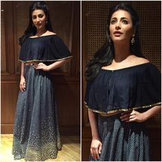 Shruti Haasan in Ridhi Mehra lehenga crop top Lehenga Crop Top, Lehenga Blouse, Lehenga Choli, Sarees, Lehnga Dress, Frock Dress, Indian Dresses, Indian Outfits, Ethnic Outfits