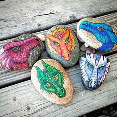 This is the family of dragons I recently painted. Just listed! ✨ Get one of your very own ✌