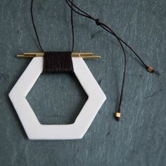 Porcelain Hexagon and Brass Pendant by StudioLorraine, $48.00