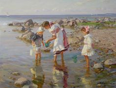 """Children by the Sea"" by Alexander Averin Canvas Painting Landscape, Seascape Paintings, Oil Paintings, Russian Painting, Figure Painting, Art Plage, Different Kinds Of Art, Beach Scenes, Cool Landscapes"