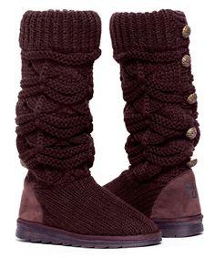 MUK LUKS Chocolate Chip Jamie Knit Boot | zulily