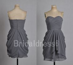 Simple Grey Ruffled Sweetheart Strapless A-Line Sleeveless Short Bridesmaid Dress,Mini Chiffon Formal Evening Party Prom Homecoming Dress on Etsy, $59.00