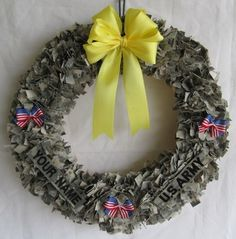 Military Wreath! Would love to do this with my grandfather's old uniform