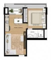 Tiny Apartments, Tiny Spaces, Small Space Living, Tiny Living, Small House Plans, House Floor Plans, Tiny House Village, Studio Room, Small House Design