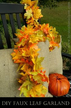 Make Your Own Faux Leaf Fall Garland - {simple, super easy, & inexpensive} - bystephanielynn