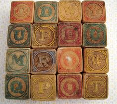 Antique Toy Blocks Rustic Wooden Primitive Childrens Alphabet