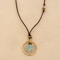 Chalcedony on Hammered Silver Necklace - Elizabeth Plumb Jewelry