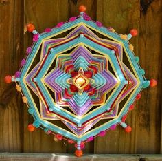 Mandala Woven Yarn Art - Ojo de Dios Wall Hanging - Desert Sun - very cool shop Mandalas Painting, Mandala Art, Crochet Mandala, Gods Eye, Arts And Crafts, Diy Crafts, Middle School Art, Craft Shop, String Art