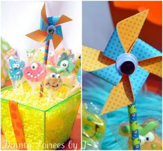 love the one-eyed pinwheel for a monster party.