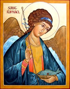 Raphael, a Heavenly Companion: St. Raphael shows us how to accompany people in their faith journeys by Kevin Perrotta St Raphael, Archangel Raphael, Byzantine Icons, Byzantine Art, Religious Icons, Religious Art, Catholic Archangels, Religious Paintings, Angels Among Us