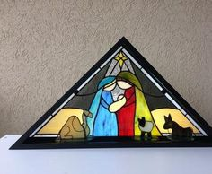 I designed this to be a free standing Nativity in a flag frame shadow box representing a manger, the animals are also free standing and can be po Stained Glass Projects, Stained Glass Patterns, Stained Glass Suncatchers, Fused Glass, Delphi Glass, Stained Glass Christmas, Tiffany, Artist Gallery, St Joseph