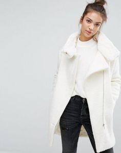 Pull&Bear Faux Fur Lined Zip Front Coat