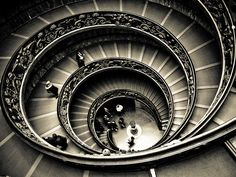 Spiral Staircase These are the stairs that take you down and out through the exit from the Vatican Museums. Photography Essentials, City Photography, Inspiring Photography, Black And White City, Black And White Pictures, Stairway To Heaven, White Image, Architectural Elements, Art Music