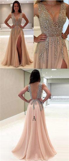 Beautiful Prom Dresses V-neck Slit Sexy Rhinestone Prom Dress/Evening Dress JKL175