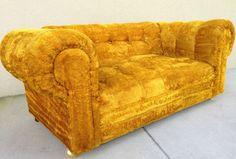 Mid Century Modern Golden Retro Sofa In Style Of Edward Wormley